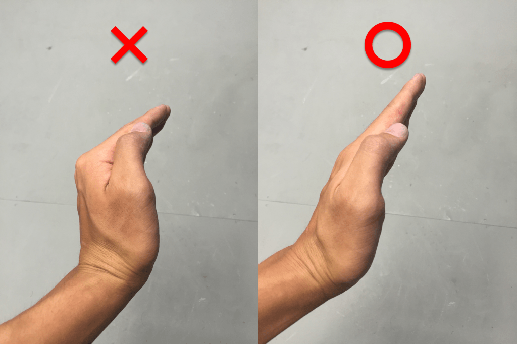 正しい手の形(横)