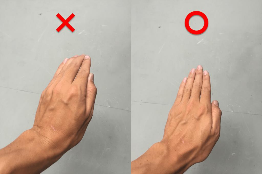 正しい手の形(正面)